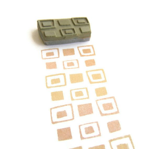 Retro Squares Border Rubber Stamp - Cling Rubber Stamp