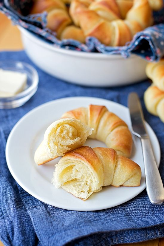 This recipe for light, flakey and buttery easy homemade crescent rolls is sure to become a family favorite. There's no need to labor over croissants or spend money on store-bought tubes of dough- these are the best of both worlds!