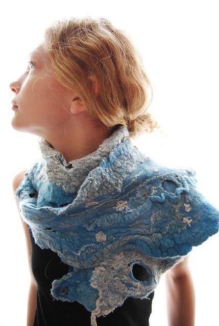 Girl wearing felted scarf by sassafrasdesign, via Flickr