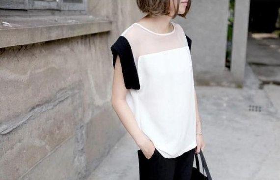 Black / White Chiffon top http://www.etsy.com/listing/163219889/black-white-chiffon-top?ref=listing-shop-header-2