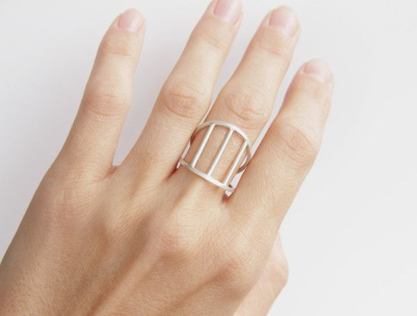 Sterling Silver Double Band Cage Ring