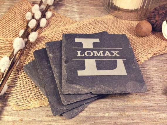 Slate Coasters w/Name through Letter  Laser Etched by OTBengraving