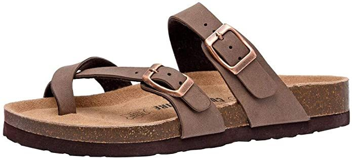 Amazon Com Cushionaire Women S Luna Cork Footbed Sandal With Comfort Slides In 2020 Cork Footbed Sandals Footbed Sandals Womens Sandals