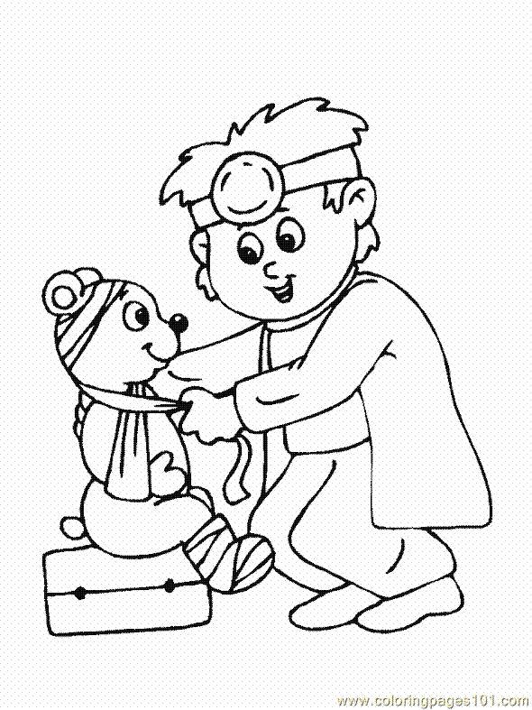 kleurplaat dokter en beer