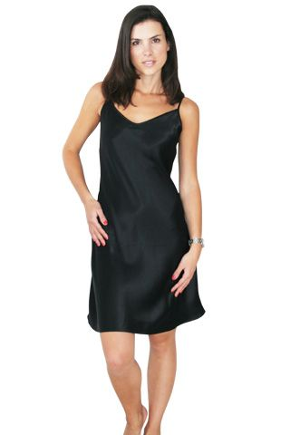 Silk Short nightie slip, made of pure 19mm charmeuse silk. Available in black, ivory, silver, mink, red for $119.95