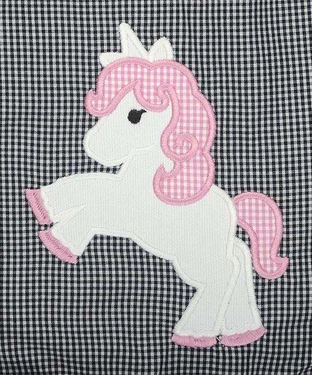 Stellybelly Black Gingham Unicorn Puff Sleeve Dress - Infant, Toddler & Girls | zulily