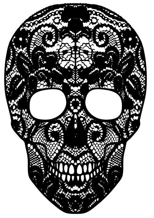 "vinyl lace skull decal 24"" x 14"""