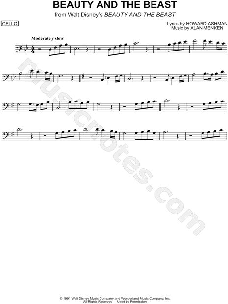 """Beauty and the Beast"" from 'Beauty and the Beast' Sheet Music (Cello Solo) - Download & Print"