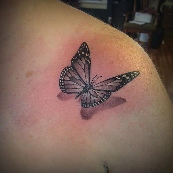 3D Black and grey flying butterfly tattoo on Shoulder