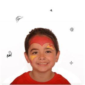 #maquillaje carnaval, paso 2. Rellenar Utilizando la pintura amarilla brillante y un pincel, pinta una forma en zigzag sobre una ceja en un lado de la cara y la misma forma pero invertida bajo el ojo del lado contrario. Con la pintura roja brillante añade detalles al borde del zigzag.