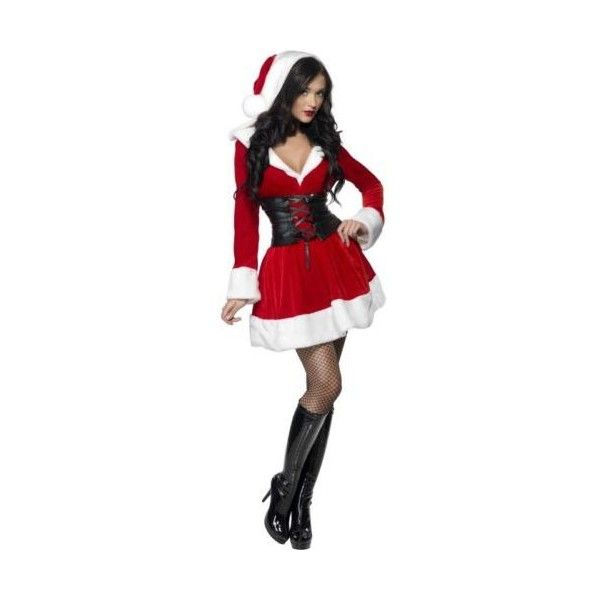 Ladies Sexy Hooded Santa Costume Christmas Fancy Dress ❤ liked on Polyvore featuring costumes, costume, santa claus suits, sexy christmas costume, ladies halloween costumes, womens christmas costumes and ladies costumes
