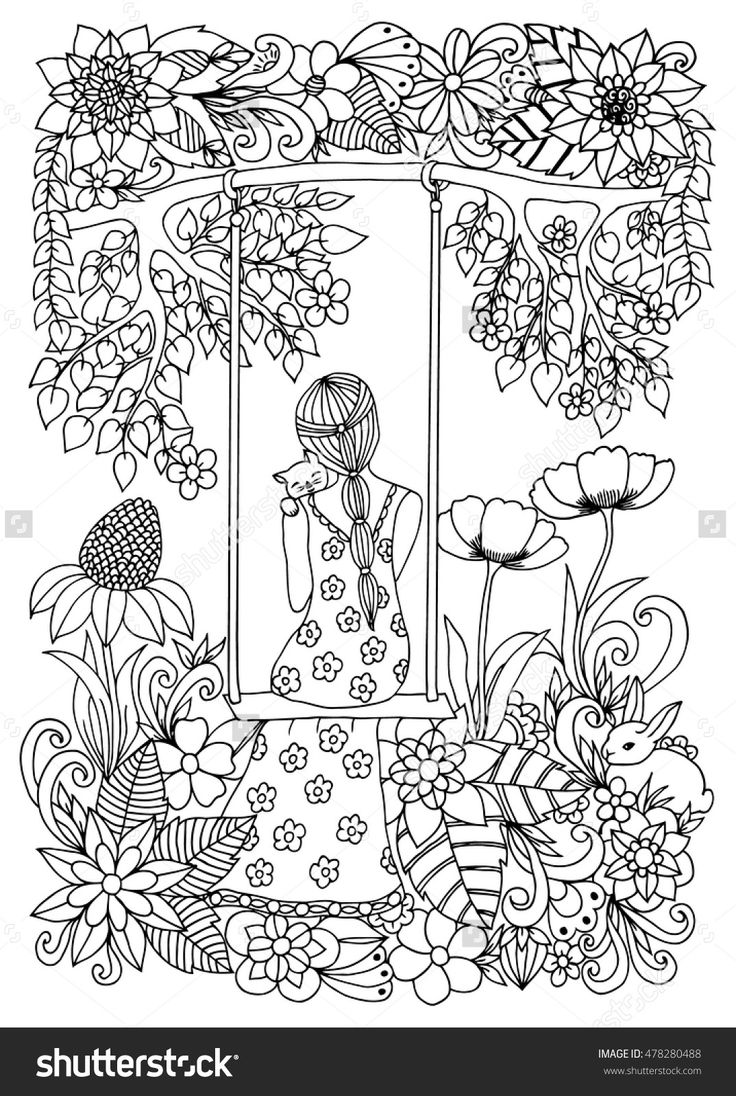 zentangle girl with kitten on swing coloring page