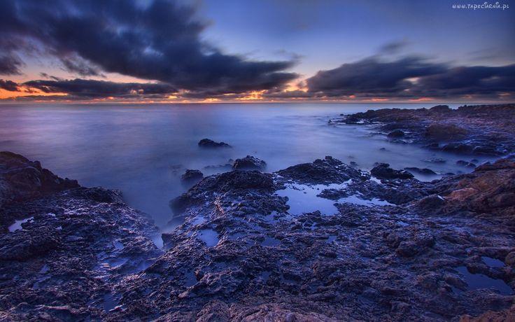 Morze, Brzeg, Chmury, Wschód Słońca