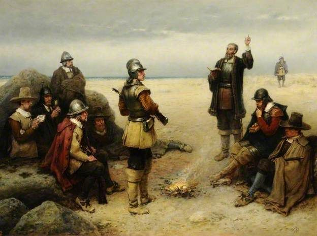 Boughton, George, (1833-1905), The Landing of the Pilgrim Fathers, 1869, Oil