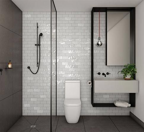 Good design knows no limitations I have no words for the magic created in this space by that wall hung matte black frame....except amazing! #bathroominspo #modernbathroom #subwaytile #bricklay #matteblack Source of this gem unknown. Please share if you know. by neutralinstinct