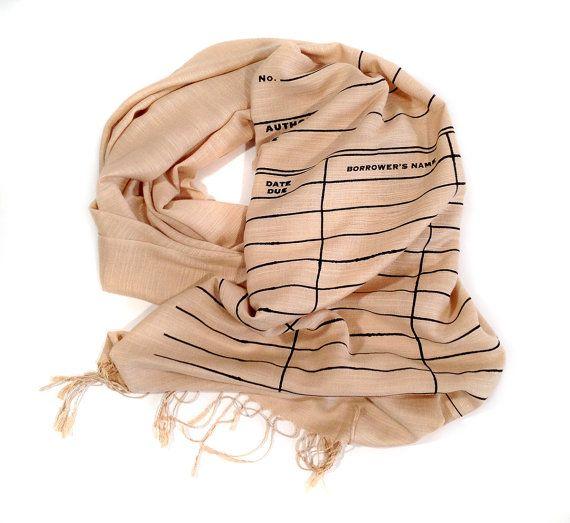 Library Date Due scarf. Black silkscreen print. by Cyberoptix