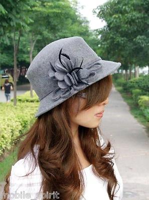 2012 Women's 100 Wool Autumn Winner Dome Vintage Fedoras Felt Hat Grey | eBay