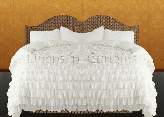 Shabby Chic Chiffon Lacy WHITE Ruffle Bedspread Set by softlinens