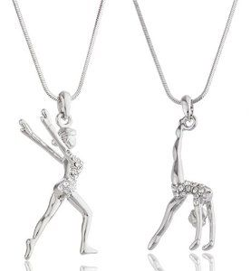 Silvertone with clear stones flipping and landing gymnast necklaces-- makes a great gift for a gymnast :)