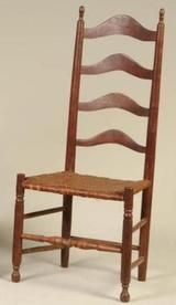 A Virginian Walnut Ladder Back Chair With Curved Slats