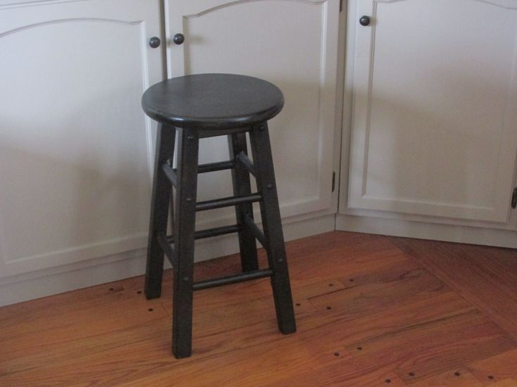 Wooden Bar Stool, Distressed Black Stool, Solid Wood Stool,  24'' Tall Stool by ClassicMontage on Etsy