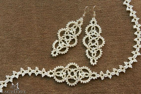 Tatted set of necklace and earrings Bridal by LacyLoveJewelry