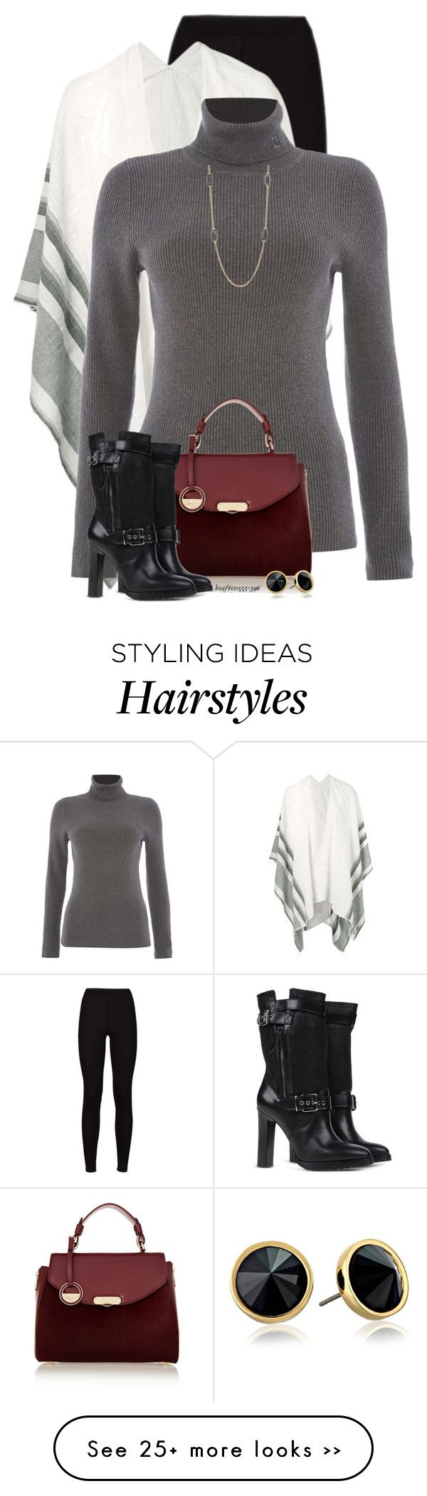 """Poncho & Leggings Again!"" by houston555-396 on Polyvore featuring Lemlem, Lauren Ralph Lauren, Versace, Burberry, Nordstrom Rack and Trina Turk LA"