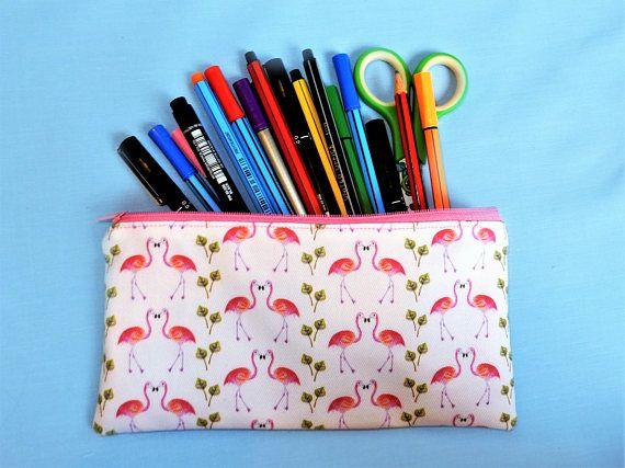 Flamingo pencil case  pink pen pouch  flamingo gift  unique