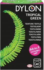 Dylon Textielverf Wasmachine - Tropical Green 350 Gram  Description: Dylon Textielverf Wasmachine - Tropical Green 350 Gram Met deze Tropical Green textielverf blaas je je garderobe nieuw leven in. De prachtige groene kleuren zorgen voor een tropische verassing. Staat voor weelderige kleuren met mooie vegetatie. Gebruiksaanwijzing: Weeg de droge stof om te zien of u voldoende verf hebt Was de stof zorgvuldig zelfs indien nieuw om eventuele vlekken en apprets te verwijderen Trek rubberen…