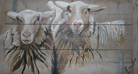 """Drie schapen"" op steigerhout ""Three sheaps""on scaffolding wood"