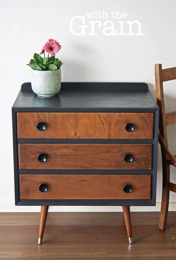 Danish Inspired Chest of Drawers in Annie Sloane Graphite and finished with dark wax $220 on Etsy