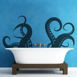 Shaped like a set of massive octopus tentacles, this decal is perfect for any bathroom.