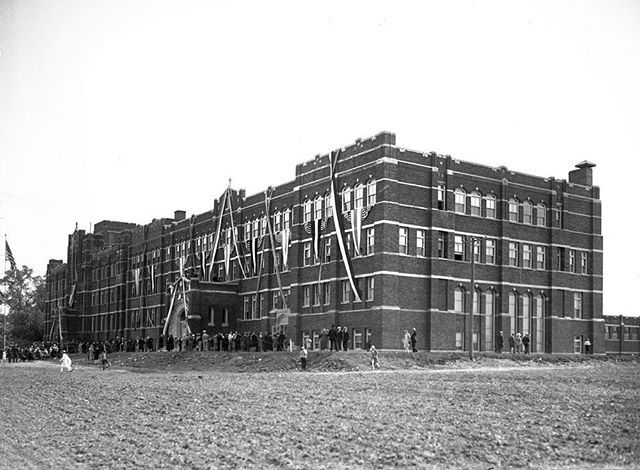 The new Resurrection High School at 7432 W. Talcott Avenue in Chicago, circa 1929. Resurrection High School was opened by Sister Anne Strzelecka, of the Sisters of the Resurrection religious order, in 1922. It was, and is still today, an all-girls Roman Catholic high school.
