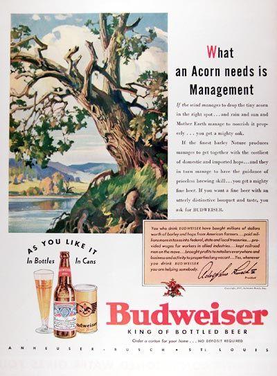 1937 Budweiser Beer original vintage advertisement.