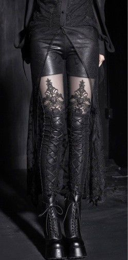 Punk Rave Gothic Victorian Steampunk Lace Instert Corset Lace-Up Leggings