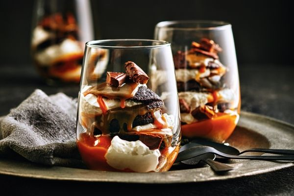 These chocolate caramel cupcake parfaits are crazy-delicious! Layer in rocks glasses for a pretty presentation. Photo by Ronald Tsang.