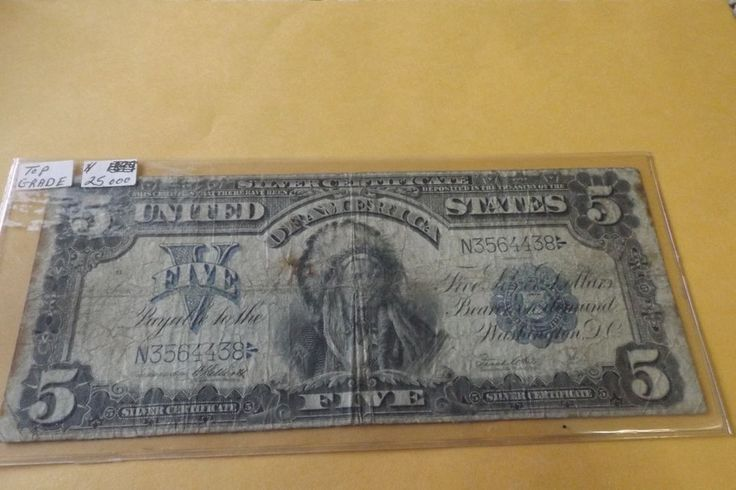 American Chief Indian Dollars1899 $5 Silver Certificate Bank Note Colour Sioux