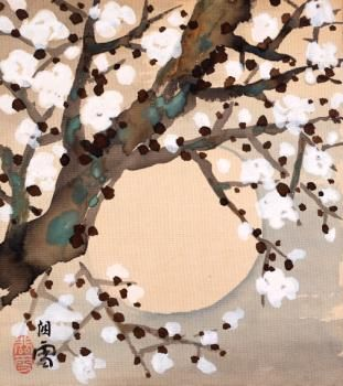 橋本関雪(Hashimoto Kansetsu 1883ー1945)「白梅に月」