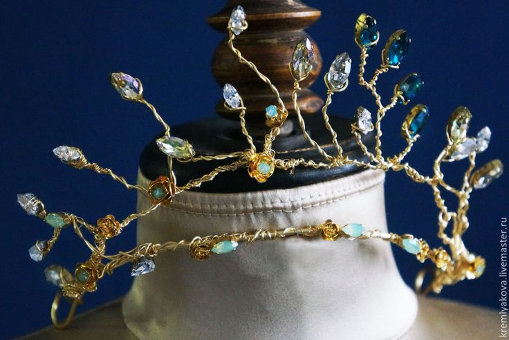 Купить Изысканная тиара, корона - золотой, тиара, диадема, корона, вечернее украшение, металлические узоры