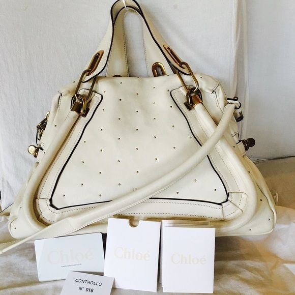 Chloe gold studded white Paraty in Medium | Chloe Bag, Vs Models ...