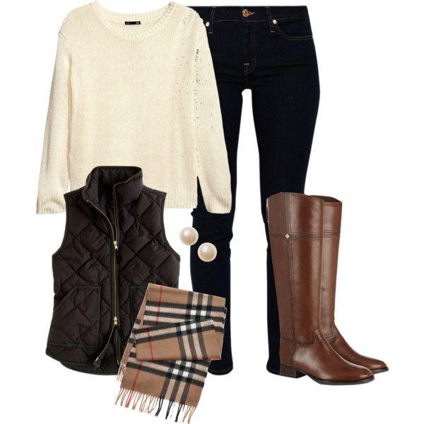 Calças ganga escura + Camisola malha creme + cachecol burberry + colete ou casaco verde + botas camel
