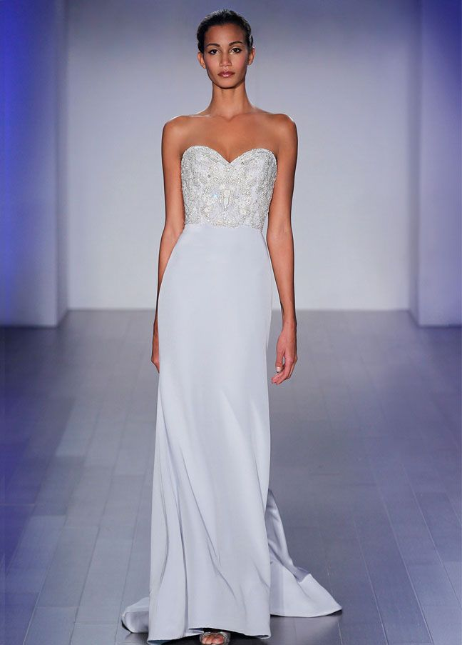 Wisteria silk crepe trumpet bridal gown, opal jewel encrusted bodice, strapless sweetheart neckline, natural waist, chapel train. Available in Ivory. LZ3515 by JLM Couture, Inc.