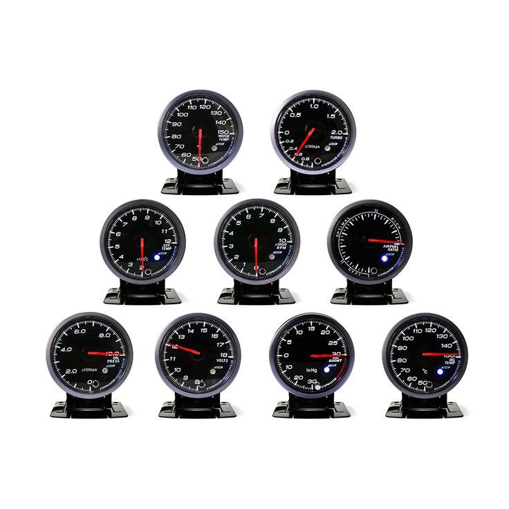 No Logo 60MM Black Face Boost turbo,Water/Oil temp,Oil press,Voltmeter, Air/fuel , Exhaust gas temp,tachometer Auto Gauge/meter