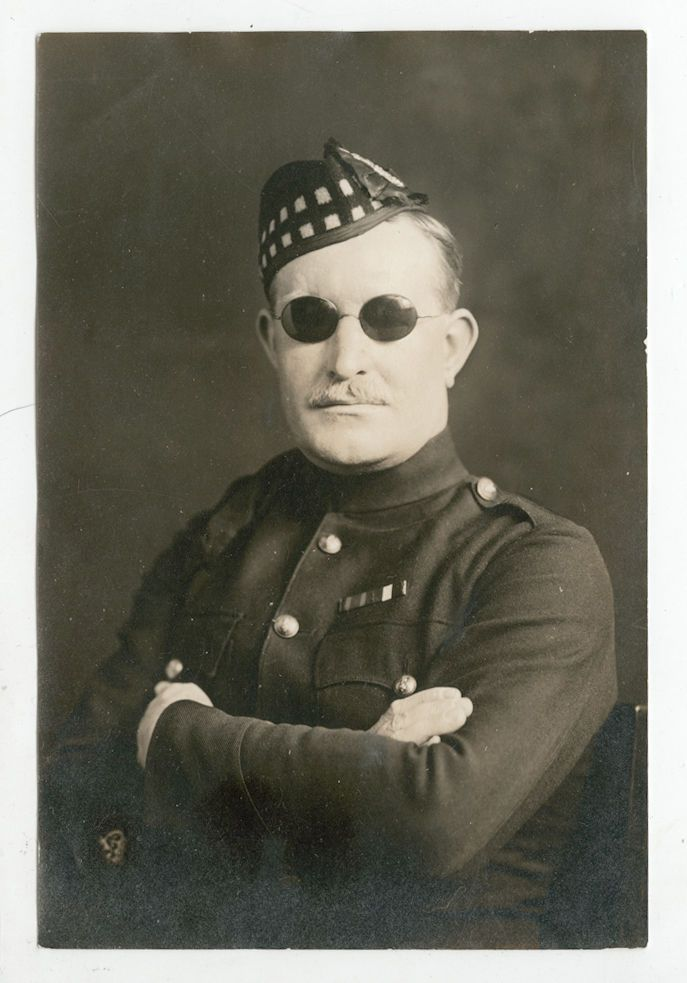 "Sergeant Major Robert Middlemiss of the 2nd Kings Own Scottish Borderers.  In 1889 he enlisted in Edinburgh serving until discharged upon being blinded by shrapnel during the Gallipoli campaign in 1915.  Following his ""re-education"" at a facility for the blind at St. Dunstan's he was recruited by the Permanent Blind Relief War Fund to lead a fundraising and lecture tour of America and Canada in 1916-17, accompanied by his wife Beatrice."