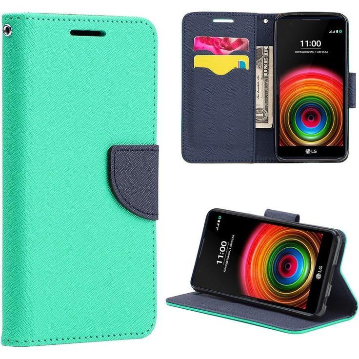 DW Flip Stand Cover LG X Power Fancy Wallet Case - Mint Green/Navy