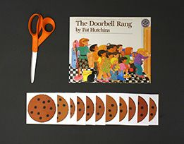 """Try this printable equal sharing activity! Act out """"The Doorbell Rang"""": Children act out the story from the book The Doorbell Rang with paper cookies."""