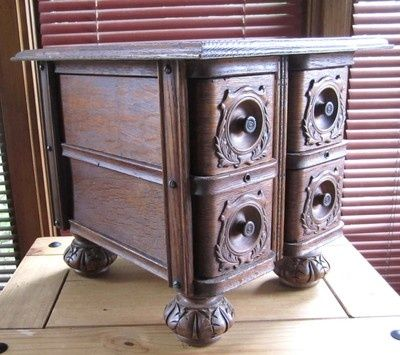 Antique Sewing Machine Drawers - repurposed for small oak table