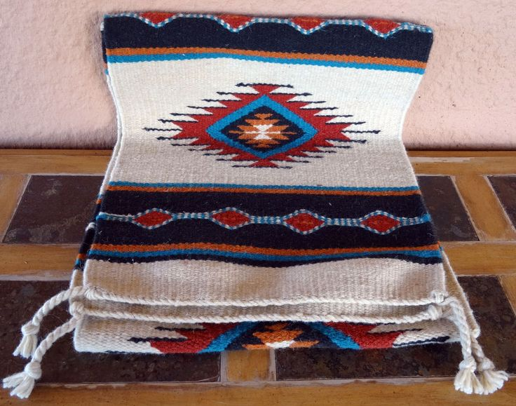 Southwestern Table Runner 30 16X80 Hand Woven Southwest Wool Geometric  Design