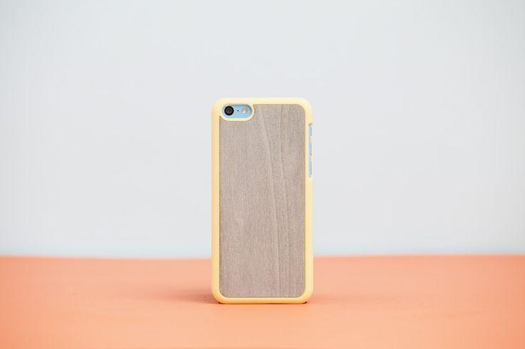 Cover iPhone 5c Yellow - Light Blue Bolivar // Wood'd #woodd