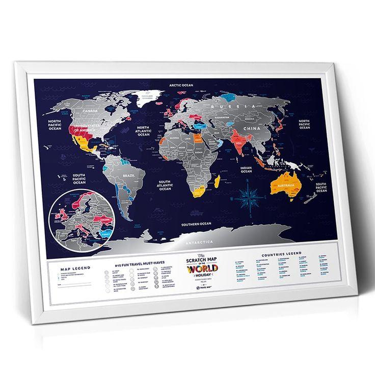 Скретч-карта в подарок Travel Map «Holiday world» - уникальная праздничная скетч-карта мира в подарок друзям и родным ко дню рождения, Новогодним празникам, летнему от пуску, свадьбе и любому другому празнику. Крупные страны разбиты на регионы, Европа винесена отдельной картой, каждая ст